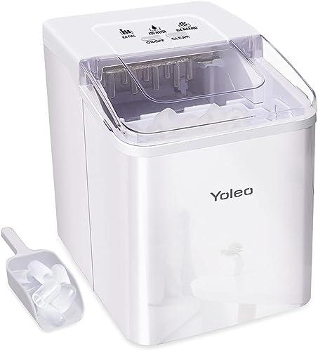 Yoleo Machine à glaçons, Machine à glaçons silencieux 9 glaçons en 8 minutes, 26 lbs/12 kg en 24 Hours, Fonction D'au...