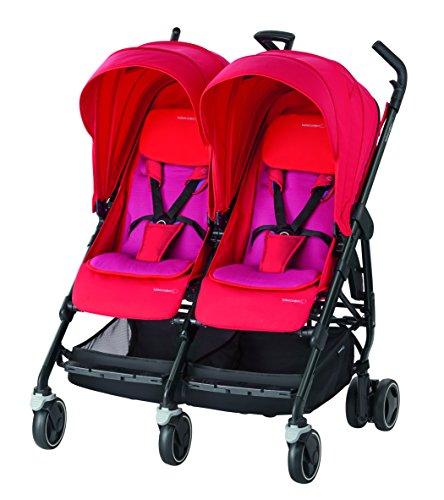 Bebe Confort 3220660268535 Carrito gemelar 2Asiento(s) Rojo - Cochecito (Carrito gemelar, 36 mes(es), 2 Asiento(s), Rojo, Aluminio, De plástico, Plano)