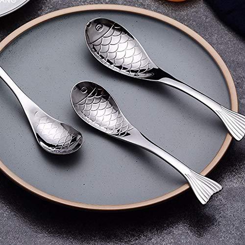 LQW HOME Forma de Pescado Sopa de la Cuchara del Acero Inoxidable Cuchara de Sopa de Pescado de Acero Inoxidable Cuchara Cuchara Cena Restaurante (Color : 17 x 4.1 x 0.2cm)