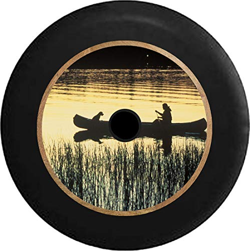 Caps Supply JL Tire Cover Canoe on a Peaceful Lake Man's Best Friend Dog Fishing (Fits: JL Accessories Sport with Back-Up Camera) 32 Inch 245/75r17, 255/70r18