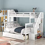 DXW-Y Solid Wood Bunk Bed Frame No Box Spring Needed with Guardrails, Ladder and Storage Stairs for and Teens Platform, Twin Over Full, Gray (Color : White with Drawers, Size : Twin Over Full)