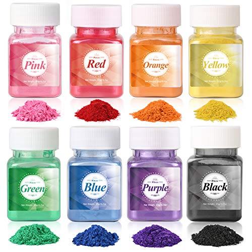 Wtrcsv Epoxidharz Farbe metallic 160g(8er×20g), Mica Powder Epoxy Resin Farbe Farbpigmente Pigmentpulver Farben Pigment, Farbe für Epoxidharz, 8 Farben (Blau Schwarz Grün.)