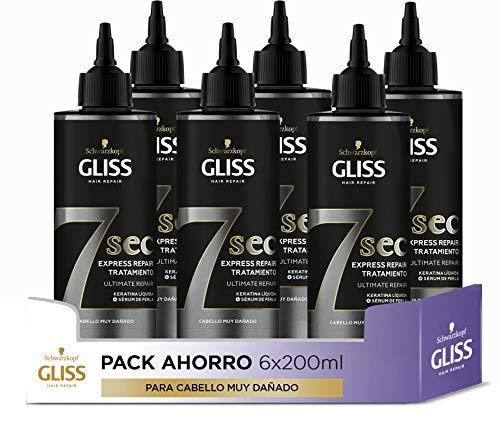Schwarzkopf Gliss Gliss - Tratamiento Express 7 Segundos - Ultimate Repair - 6Uds de 200Ml (1.200Ml) - para Un Brillo y Reparación Intensa - Tan Potente Como Una Mascarilla En Solo 7 Segundos 1200 g