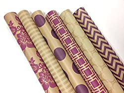 "Kraft Pink and Cream Wrapping Paper Set - 6 Rolls - Multiple Patterns - 30"" x 120"" per Roll"