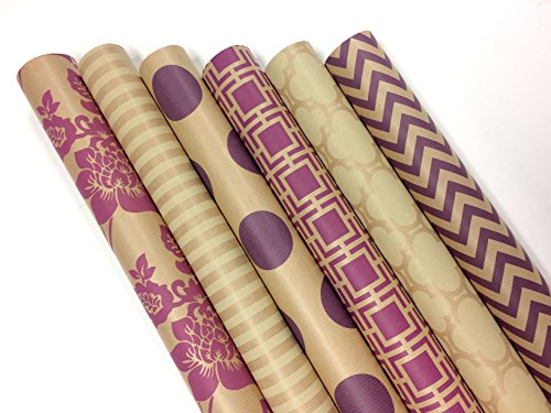 Note Card Cafe Bella Kraft All Occasion Wrapping Paper | 6 Pack | 30 x 120 inch Rolls | Pink, Purple, Cream | for Birthdays, Weddings, Showers, Gifts, Holidays, Christmas | Recyclable, Biodegradable