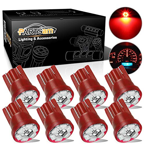 Partsam T10 194 LED Light Bulb 168 LED Bulbs Instrument Panel Gauge Cluster Dashboard LED Light Bulbs No-Polarity 2825 Dome Map Lights - 8Pack Red