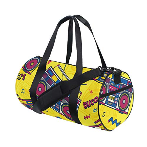 Cylindrical Canvas Sports Bag with Retro Ghettoblaster Theme