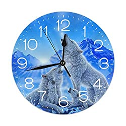 FEAIYEA Wall Clock Wolf and Moon Decorative Wall Clock Silent Non Ticking - 9.8Inch Round Easy to Read Decorative for Home/Office/School Clock