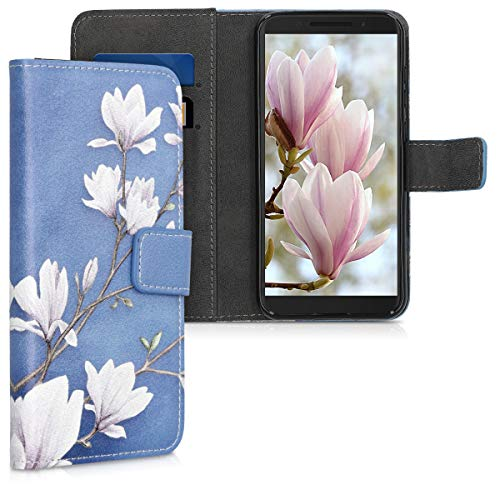 kwmobile Wallet Case Compatible with Alcatel 1S - PU Leather Flip Cover with Card Slots and Stand - Magnolias Taupe/White/Blue Grey