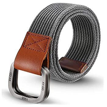 ITIEZY Men s Canvas Belt Cloth Belt Double D Ring Buckle Belt for Men Casual Sports Webbing Belt