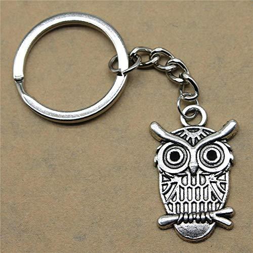 Zbzmm accessoires sleutelhanger sleutel uil Simpatici geschenken voor heren verjaardag hanger 33x21mm antiek zilver