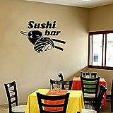 Calcomanía de vinilo para pared, decoración de pared, restaurante, sushi, palillos de comida, vitrina de arroz, cartel, tienda de sushi, decoración, arte 57X40cm