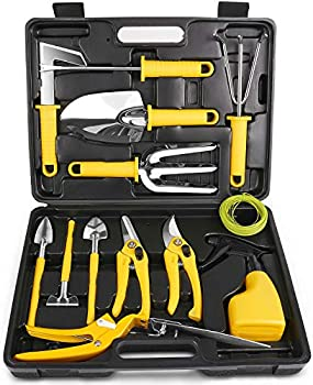 MOSFiATA 14-Pieces Stainless Steel Garden Tool Kit with Carrying Case