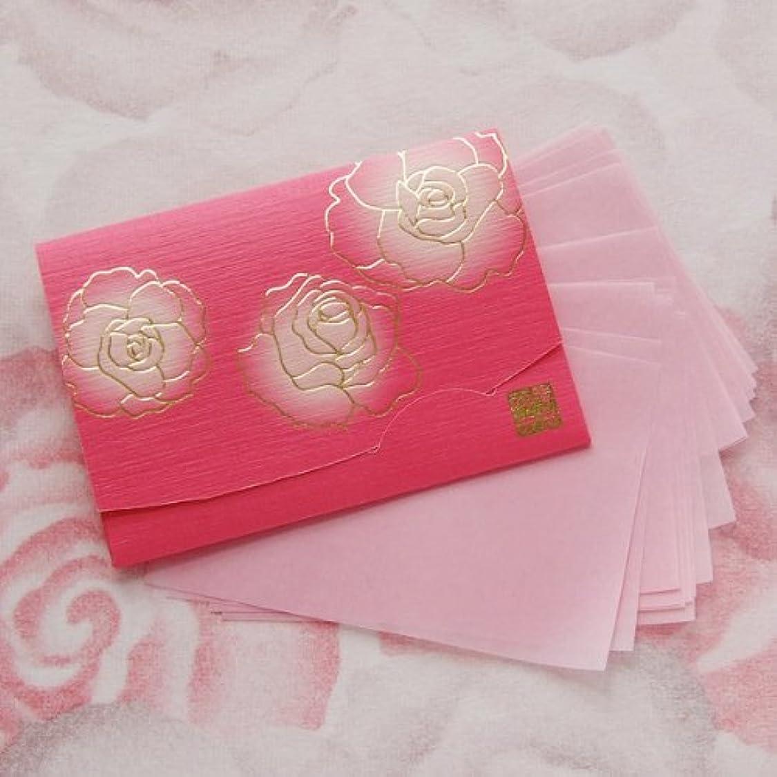 ジョブ理想的蒸発する鎌倉四葩のあぶらとり紙 ぼかし染め香りローズ 短冊サイズ 20枚入