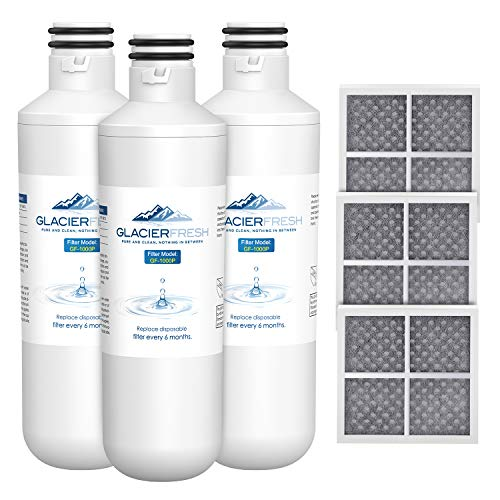 GLACIER FRESH Water Filter LT1000PC Compatible with LG LT1000P, LT1000P/PC/PCS, LT-1000PC, MDJ64844601, 9980 Water Filter, and LT120F, ADQ73214404 Air filter Combo, 3 Pack