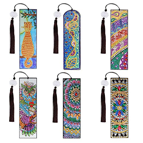 5D Coloured Beaded Painting Bookmark with Tassel and DIY Dot Kit, Reading Bookmark - 6 Pack of Animal Patterned DIY Diamond Bookmarks Hand Drill Number Kit (Childhood)