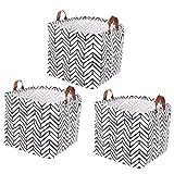 Lawei Lot de 3 Boîte de Rangement Pratique en Tissu Panier de Stockage pliable en toile avec motif géométrique pour la Maison Le Bureau - 33 x 33 x 33 cm