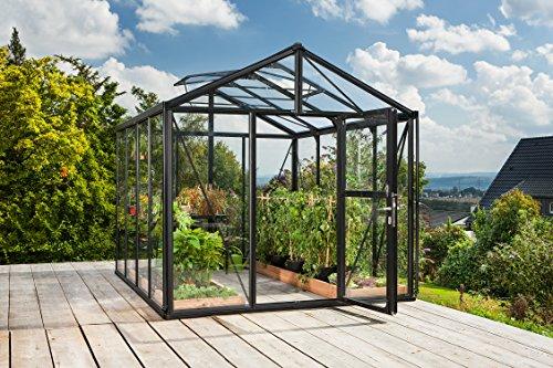 Gartenwelt Riegelsberger Gewächshaus Zeus - Ausführung: 8100 Kombi ESG 4 mm und HKP 10 mm schwarz, Fläche: ca. 8,1 m², mit 2 Dachfenster, Fundamentmaß: 2,66 x 3,24 m