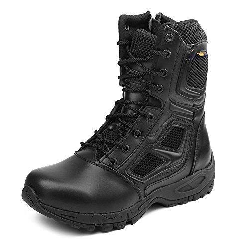 IODSON Zapatos De Hombre Botas/Botas De Combate/Botas Tácticas Ultra-Ligero Antideslizante Tela De Cuero Verdadero Transpirable JR-631 (46 EU, Negro)