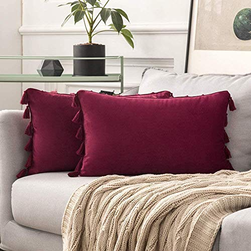 JBHOO Ensemble de 2 housse de Coussin taie d'oreiller Velours Pompon Pompon Coussin décoratif Avec Chambre canapé fermeture éclair cachée Voiture,vin Rouge,30x50cm