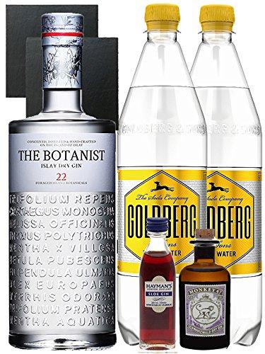 Gin-Set The Botanist Islay Dry Gin 0,7 Liter + Haymans Slor Gin 5cl + Monkey 47 Schwarzwald Dry Gin 5cl MINIATUR + 2 x Goldberg Tonic Water 1,0 Liter + 2 Schieferuntersetzer quadratisch 9,5 cm