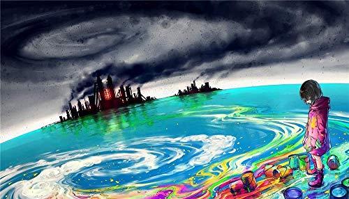 Kits de pintura por números, kit de pintura acrílica para niños y adultos con pinceles y pigmentos, lienzo preimpreso, decoración del hogar, océano colorido abstracto, niña de 16 x 20 pulgadas (s