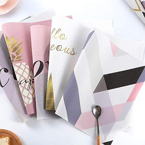 DaTun648 4 stücke Rosa Gold Geschirr PVC Tischset Pad Esstisch Matte Wärmedämmung rutschfeste Tischsets Schöne Dekoration (Color : 12, Shape Style : Rectangle)