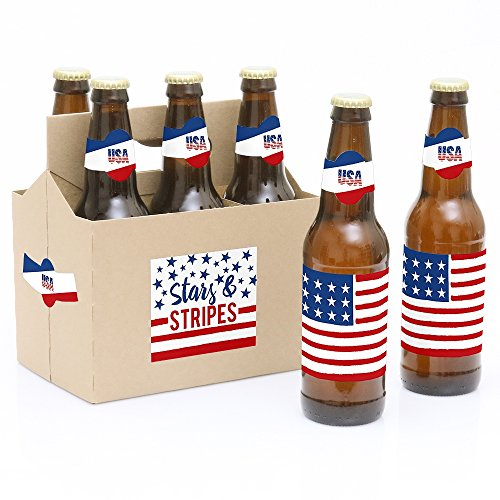 Big Dot of Happiness Stars and Stripes - Memorial Day, 4th of July and Labor Day USA Patriotic Party Decorations for Women and Men - 6 Beer Bottle Label Stickers and 1 Carrier