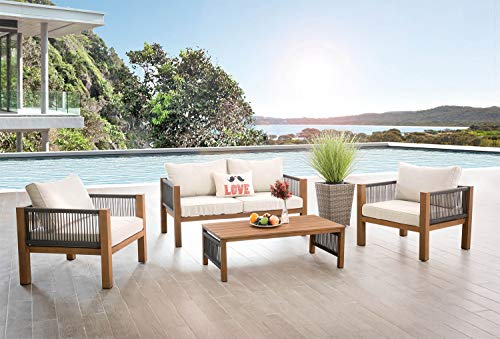 AISER Royal Garten Lounge Set -Curacao- Luxuriöse Sitzgruppe mit 2 Sesseln und Kaffee Tisch aus Aluminium in Holzoptik Gartenmöbel Set