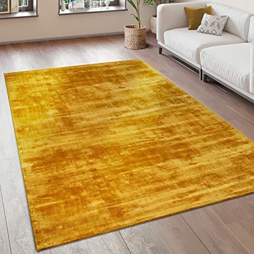 Alfombra Salón Vintage Pelo Corto Hecha A Mano 100% Viscosa, tamaño:80x150 cm, Color:Amarillo
