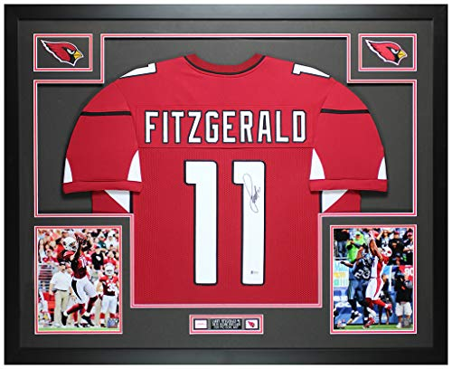 Larry Fitzgerald Autographed Red Arizona Cardinals Jersey - Beautifully Matted and Framed - Hand Signed By Fitzgerald and Certified Authentic by Beckett - Includes Certificate of Authenticity