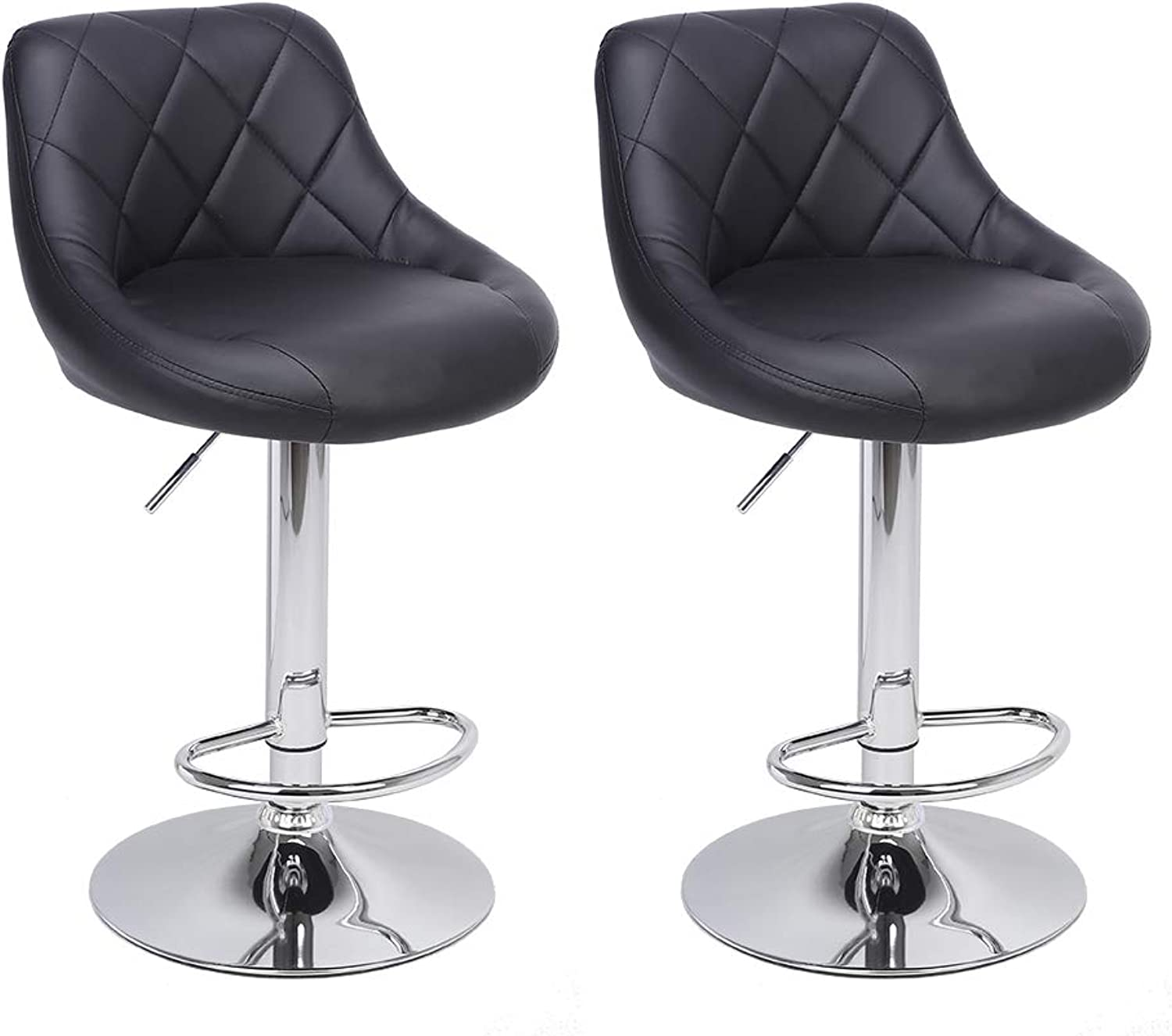 HIKTY Bar Chairs Adjustable Hydraulic Bar Stools Swivel Barstool Chairs Pub Kitchen Counter Height Chairs Footrest, Set of 2 (Black)