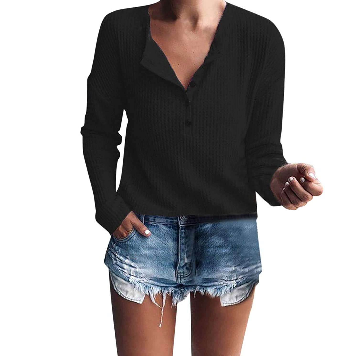 LISTHA Clearance V Neck Sweater Pullover Women Long Sleeve Knitted Blouse Casual Tops