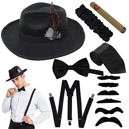 Spooktacular Creations Manhattan 1920s Mens Gatsby Gangster Retro Costume Accessories Set (Black)