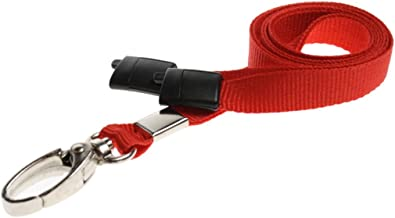 ID Card It ID Badge Holder Red Neck Strap Safety Breakaway Lanyard with Solid Metal Lobster Clip - 100