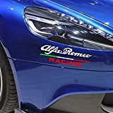 Italie Drapeau Racing emblème Autocollant De Voiture PVC Decal Styling, pour Alfa Romeo Giulietta Giulia Stelvio 147156159 Mito Car Styling (Blanc, 20 * 7,5 cm)