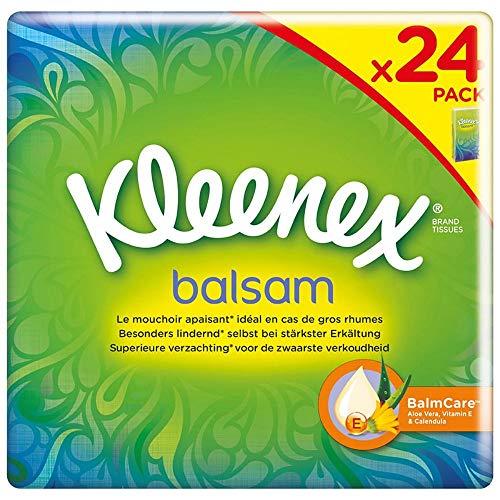 Kleenex Balsam Taschentücher, 4-lagig, Ideal bei Erkältungen und Allergien, 8 x 24 Packungen à 9 Tücher, Vorratspackung