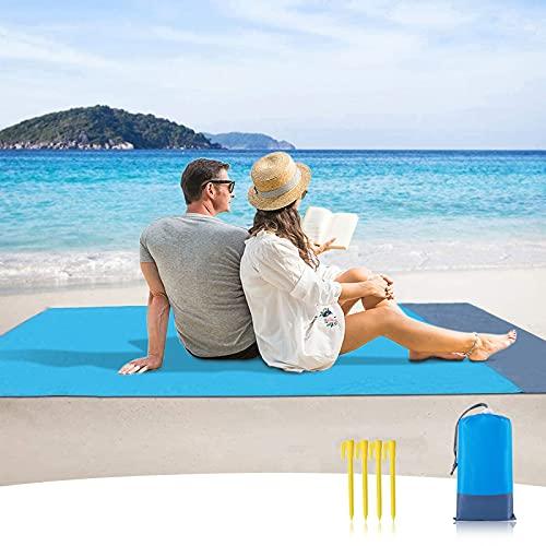 Sendowtek Esterilla de Playa, 200 x 140 cm Manta Playa Grande Impermeable Esterilla Impermeable Playa con 4 Clavos fijos,Ideal para Viajes al Aire Libre