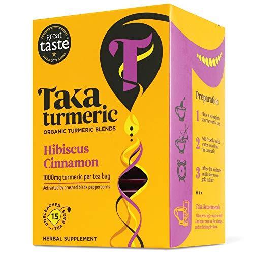 Taka Turmeric Tea, Organic Hibiscus Cinnamon, Individually Wrapped Turmeric Tea Bags, High Dose of Turmeric, Certified Organic by Soil Association (1 x Carton (15 Tea Bags))