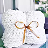 Mansmerton Chunky Knit Blanket Throw-47x59 in,White-Soft Chenille Yarn Knit Blanket for Bed,Sofa -Machine Washable,Handmade-Large Cable Knit Throw Weighted Blanket -Home,Bedroom Decor Gift for Mom&Her