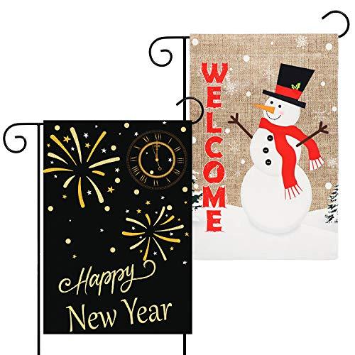 GROBRO7 2Pcs Happy New Year Garden Flag Snowman Welcome Winter Yard Flag Durable House Decorative Burlap Double Sided Print Flag Firework Countdown Clock Flag Holiday Seasonal Outdoor Décor 12x18 Inch