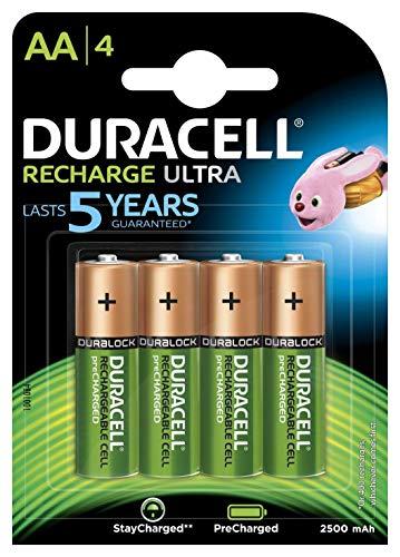 Duracell Recharge Ultra AA Prericaricate, Batterie Stilo Ricaricabili 2500 mAh, Confezione da 4