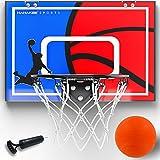 Hahakee Mini Basketball Hoop,Wall Mounted and Indoor Basketball Toys with Breakaway Steel Rim, Includes Mini Basketball and Hand Pump (16.5'x12')