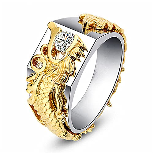 MayiaHey Iced Out Dragon Ring for Men, Gold Dragon Head Ring White Stone Dragon Ring for Boys (8)