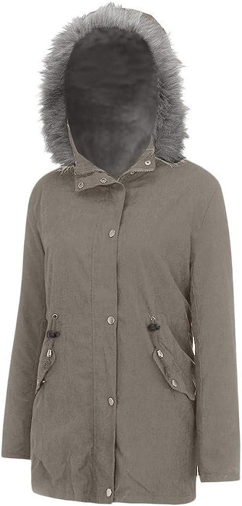 HGWXX7 Womens Coats Faux Fur Hood Lined Parka Jacket Plus Size Long Sleeve Full Zip Soft Warm Jackets with Pocket