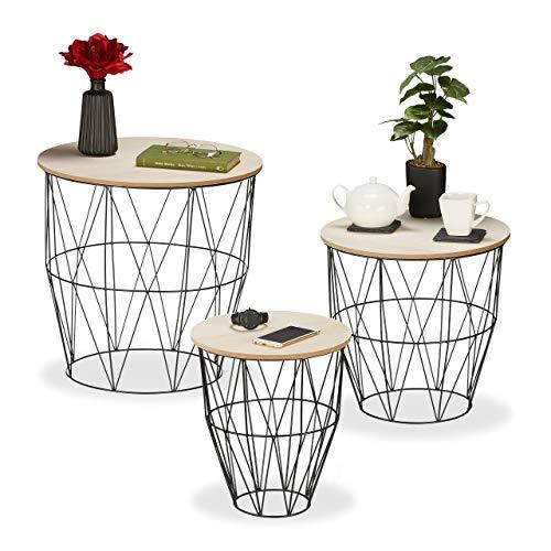 Relaxdays Set de 3 mesas auxiliares, Redondas, metálicas, con Cesta, mesas de Centro, 3 tamaños, de almacenaje, Negras