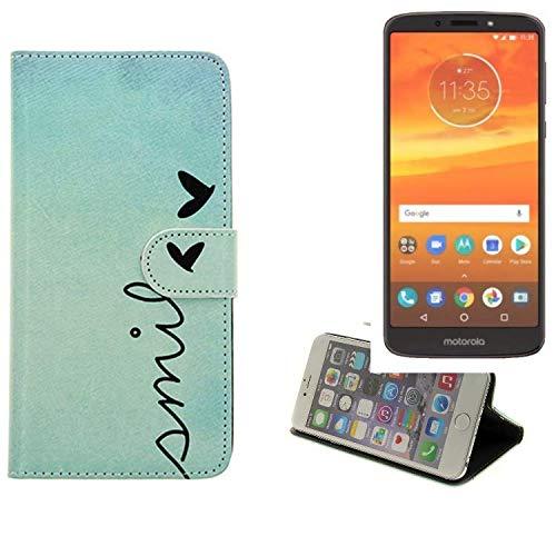K-S-Trade® Schutzhülle Für Motorola Moto E5 Plus Dual-SIM Hülle Wallet Case Flip Cover Tasche Bookstyle Etui Handyhülle ''Smile'' Türkis Standfunktion Kameraschutz (1Stk)