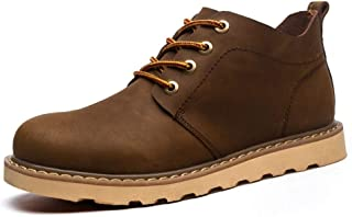 Oxford Shoes For Men Formal Shoes Lace Up Style Horse Skin Pure Colors Rubber Outsole British style` Ameyso (Color : Khaki, Size : 41 EU)