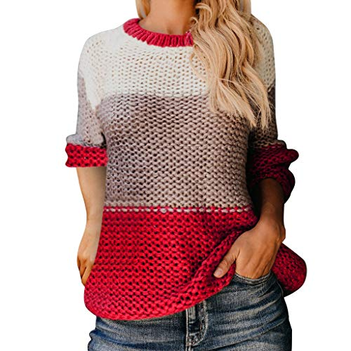 Junjie-dames tops, herfst en winter dameskleurenblok oversized ronde hals gestreepte lange mouw gebreide losse truien