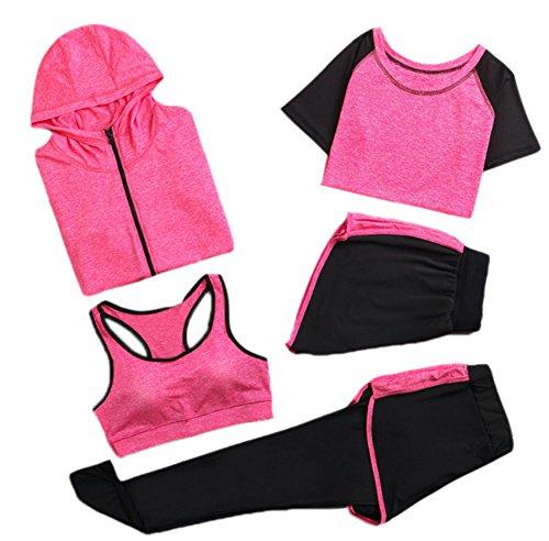 Huateng Set da Palestra da Donna, Tuta da Jogging, Tuta da Ginnastica, Tuta Fitness, Completo da Allenamento, 5 Pezzi